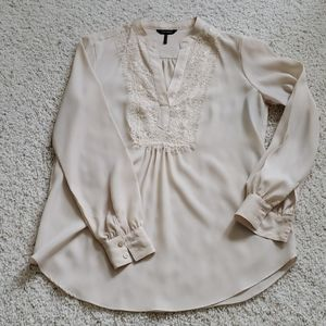 Long sleeve blouse w lace front